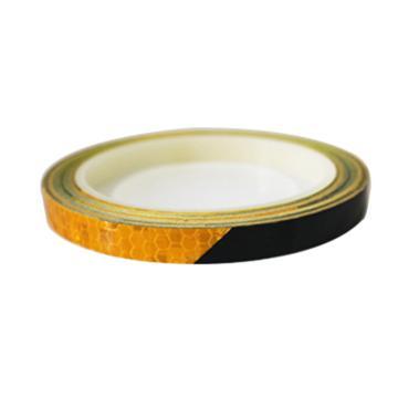 安赛瑞 安全帽警示反光贴-黄/黑,晶格反光材料,10mm×8m,13305,2卷/包