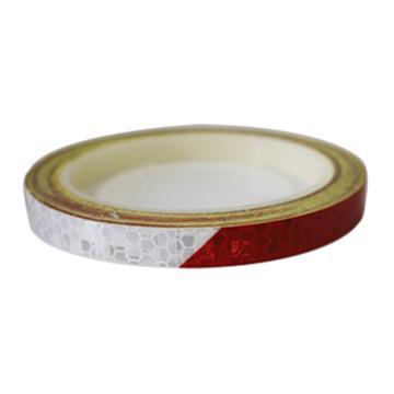 安赛瑞 安全帽警示反光贴-红/白,晶格反光材料,10mm×8m,13306,2卷/包