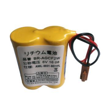 松下 锂电池BR-AGCF2W 6V,用于发那科系统锂电池,用在T-7车床 ,黑色款插头