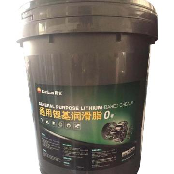 昆仑 润滑脂,通用 锂基脂 0号,15kg/桶