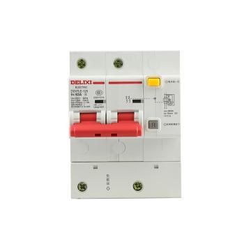 德力西DELIXI 微型漏电保护断路器,DZ47LE-125 2P D63A 75mA,DZ47LE1252D63R75