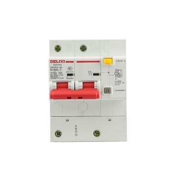 德力西DELIXI 微型漏电保护断路器,DZ47LE-125 2P D80A 75mA,DZ47LE1252D80R75