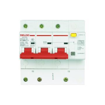 德力西DELIXI 微型漏电保护断路器,DZ47LE-125 3P D63A 75mA,DZ47LE1253D63R75