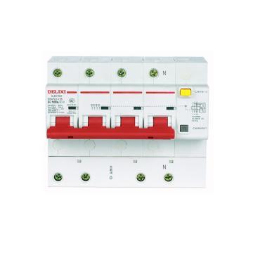 德力西DELIXI 微型漏电保护断路器,DZ47LE-125 4P D63A 75mA,DZ47LE1254D63R75