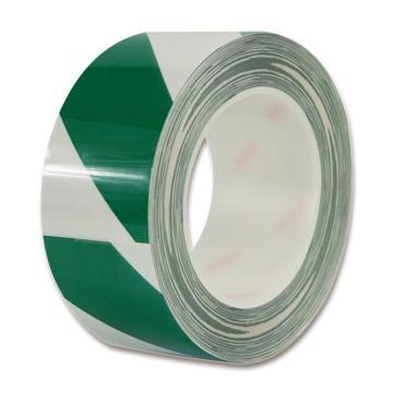 安赛瑞 耐磨型划线胶带,高性能自粘性PP表面覆超强保护膜,50mm×22m,绿/白,15625