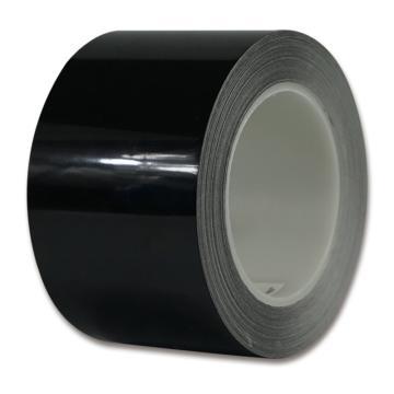 安赛瑞 耐磨型划线胶带,高性能自粘性PP表面覆超强保护膜,75mm×22m,黑色,15631