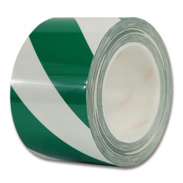 安赛瑞 耐磨型划线胶带,高性能自粘性PP表面覆超强保护膜,75mm×22m,绿/白,15634