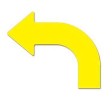 安赛瑞 耐磨型向左拐箭头地贴-黄,PET基材,315×263×75mm,11925,10片/包