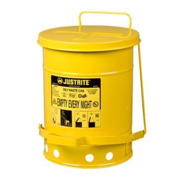 杰斯瑞特JUSTRITE 废物桶,6加仑(20升),黄色,09101