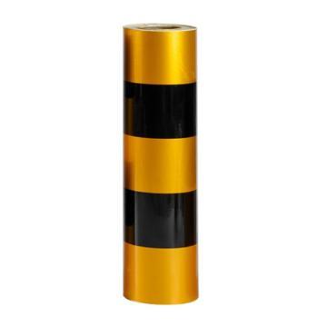 安赛瑞 电线杆防撞警示反光贴膜-3黄2黑,50cm×50m,13453