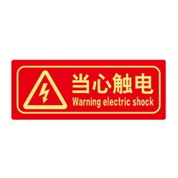 安赛瑞 经济型自发光地贴-当心触电,自发光不干胶,140×360mm,21638,10片/包