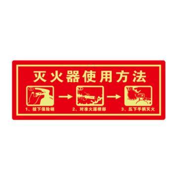 安赛瑞 经济型自发光地贴-灭火器使用方法,自发光不干胶,140×360mm,21643,10片/包