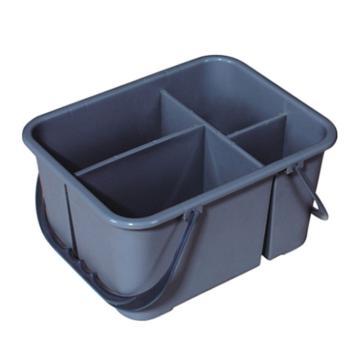 白云保洁工具篮,杂物篮 保洁手提式四格收纳工具栏 AF08407灰色