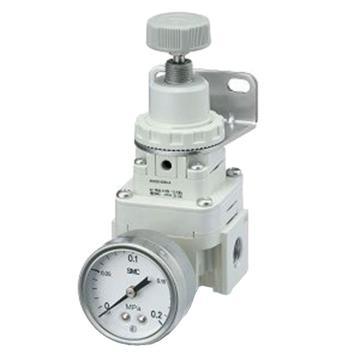SMC 精密减压阀,手动型,0.01-0.8MPa,配管口径NPT1/4,带托架,带压力表,IR2020-N02BG