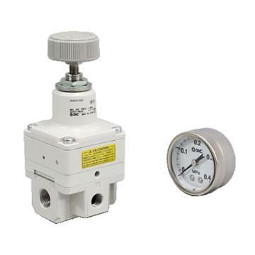 SMC 精密减压阀,手动型,0.01-0.4MPa,配管口径Rc1/4,带压力表,IR2010-02G