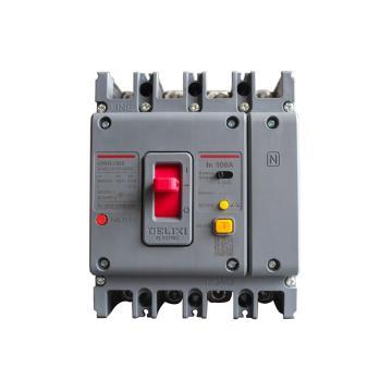 德力西DELIXI 塑壳漏电断路器,CDM3L-125F/4200B 80A 1/3/5 U AC230V,10个/包