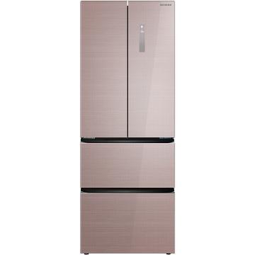 美菱 362升法式多门冰箱,BCD-362WPB, 变频节能,风冷无霜,玻璃面板