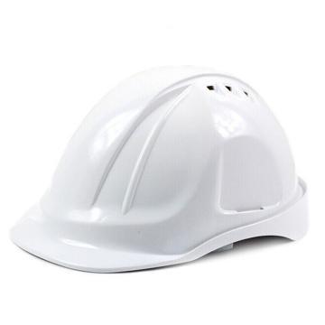 代尔塔DELTAPLUS 安全帽,102106-BC,M型安全帽 带透气孔 白色 旋钮式 含下颚带