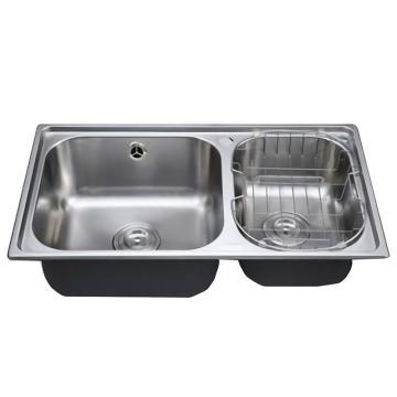 九牧 不锈钢一体成型加厚双槽台控水槽,槽体规格:760*430*220,06108-7Z/T-1