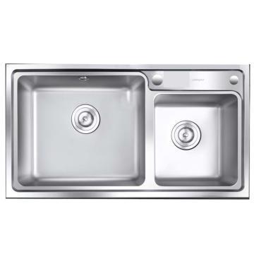 九牧 不锈钢加厚双槽水槽,槽体规格:820*450*200mm,06131-8Z-1