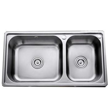 九牧 不锈钢双槽厨房水槽,槽体规格:820*450*205mm,06120-7Z-1