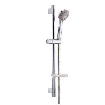 九牧/JOMOO 高档多功能手提花洒软管升降杆套装(不含龙头),面盖直径:ф80mm(3.2英寸),不锈钢杆:650mm,不锈钢双扣软管1500mm,S82013-2B01-3