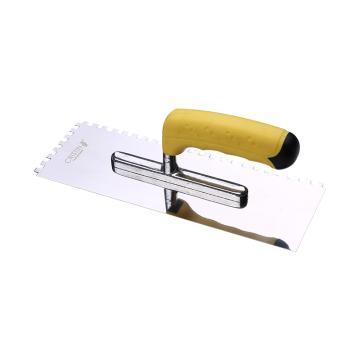 克里斯汀 不锈钢高抛光瓷砖粘合剂抹泥刀,6mm方齿,D8332,瓷砖铺贴工具 抹子 方齿抹泥刀