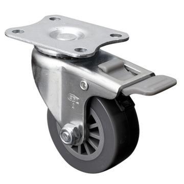 易得力(EDL) 平顶刹车聚氨酯(PU)脚轮,脚轮小型2寸35kg,26122H-262-73