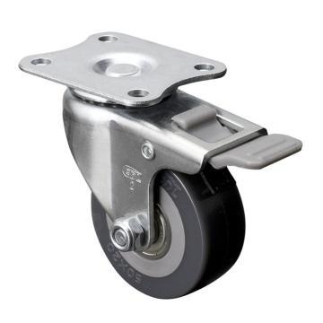 易得力(EDL) 平顶刹车聚氨酯(PU)脚轮,脚轮小型2寸40kg,26122H-262-76