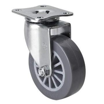 易得力(EDL) 平顶万向聚氨酯(PU)脚轮,脚轮小型2.5寸35kg,261125-2625-73