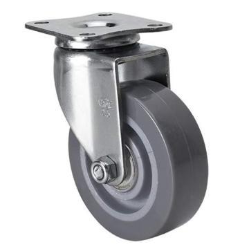 易得力(EDL) 平顶万向聚氨酯(PU)脚轮,脚轮小型2.5寸40kg,261125-2625-76