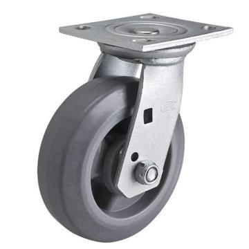 易得力(EDL) 平顶万向超级人造胶(TPE)脚轮,脚轮重型6寸350kg,70116-706-56