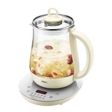 美的(Midea)養生壺,1.5L家用電熱水,GE1511a,燒水壺加厚玻璃杯 淺黃色