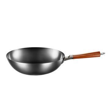 美的(Midea)炒鍋,32cm無涂層圓底聚油爆炒精鐵鍋 MP-CT32A09