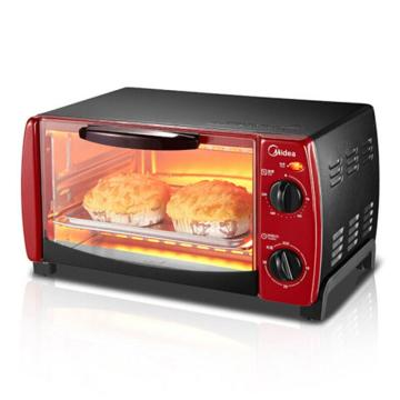 美的(Midea)电烤箱, T1-102D 火红色, 家用 迷你多功能 烘焙蛋糕小烤箱