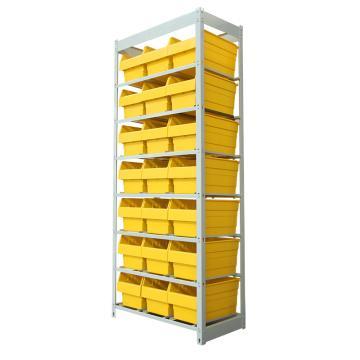 力王 輕型簡易貨架,顏色:電腦灰 產品尺寸(mm):710*395*1735(含零件盒:400*210*200mm黃色 21個)