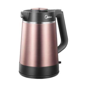 美的(Midea) 電熱水壺,VJ1502a 棕色,真空保溫1.5L家用電熱水壺304不銹鋼