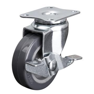 易得力(EDL) 平顶刹车聚氨酯(PU)脚轮,脚轮小型2寸30kg,20122A-202-72/A