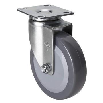 易得力(EDL) 平顶万向聚氨酯(PU)脚轮,脚轮轻型4寸70kg,36114-364-74