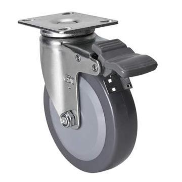 易得力(EDL) 平顶刹车聚氨酯(PU)脚轮,脚轮轻型4寸70kg,36124H-364-74