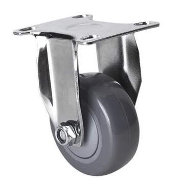 易得力(EDL) 定向聚氨酯(PU)脚轮,脚轮轻型镀铬2.5寸80kg,372025-3725-77