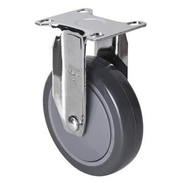 易得力(EDL) 定向聚氨酯(PU)脚轮,脚轮轻型镀铬4寸80kg,37204-374-77