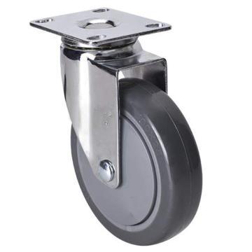 易得力(EDL) 平顶万向聚氨酯(PU)脚轮,脚轮轻型镀铬4寸80kg,37214-374-77