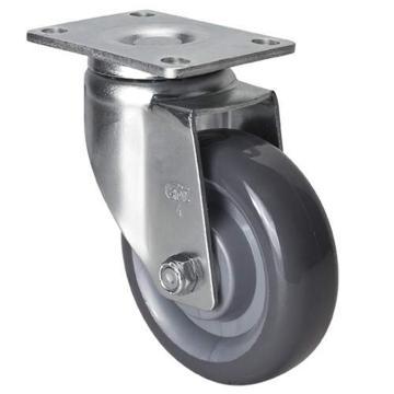 易得力(EDL) 平顶万向聚氨酯(PU)脚轮,脚轮中型4寸130kg,50114-504-75
