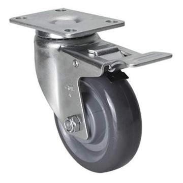 易得力(EDL) 平顶刹车聚氨酯(PU)脚轮,脚轮中型4寸130kg,50124L-504-75