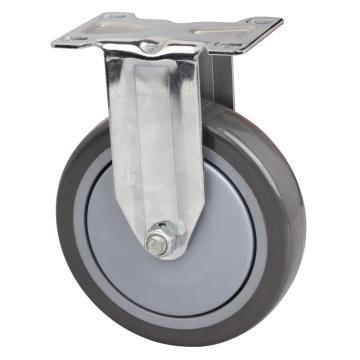 易得力(EDL) 定向聚氨酯(PU)脚轮,脚轮中型镀铬5寸130kg,57205-575-77