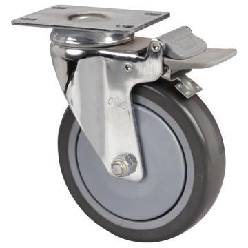 易得力(EDL) 平顶刹车聚氨酯(PU)脚轮,脚轮中型镀铬5寸130kg,57225H-575-77