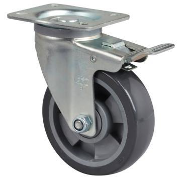 易得力(EDL) 平顶刹车聚氨酯(PU)脚轮,脚轮中型5寸200kg,64125L-645-76