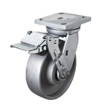 易得力(EDL) 平顶刹车铸铁(CastIron)脚轮,脚轮重型6寸950kg,78126E-786-96/E