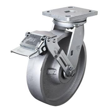 易得力(EDL) 平顶刹车铸铁(CastIron)脚轮,脚轮重型8寸1000kg,78128E-788-96/E